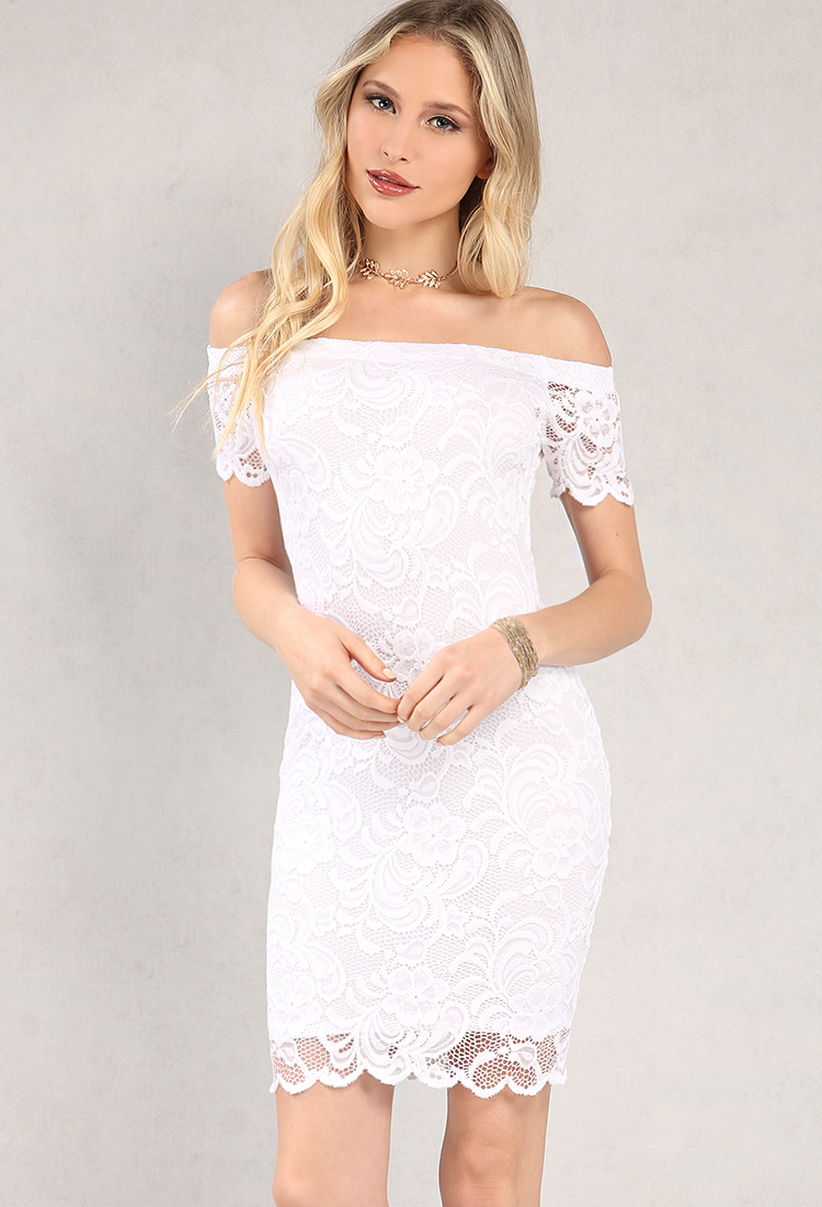 97cf15673ece Floral Lace Overlay Off-The-Shoulder Dress
