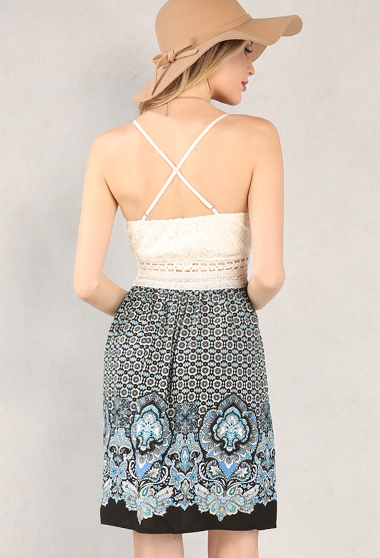 Crochet-Trimmed Ornate Print Dress