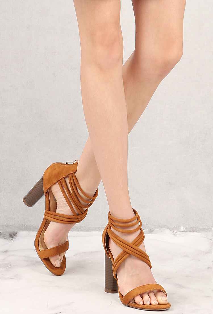 c95ff596465 Strappy Faux Suede Heels
