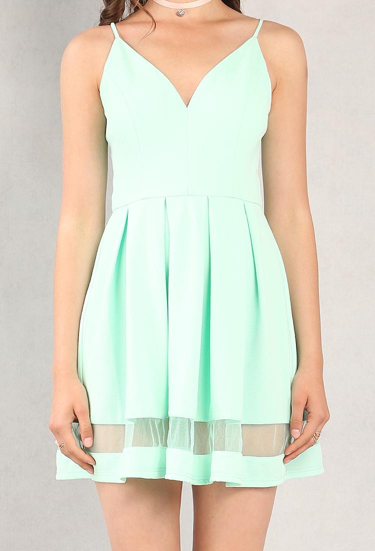 aef82c56cfd47 Mesh-Paneled Fit And Flare Dress | Shop All Promo at Papaya Clothing