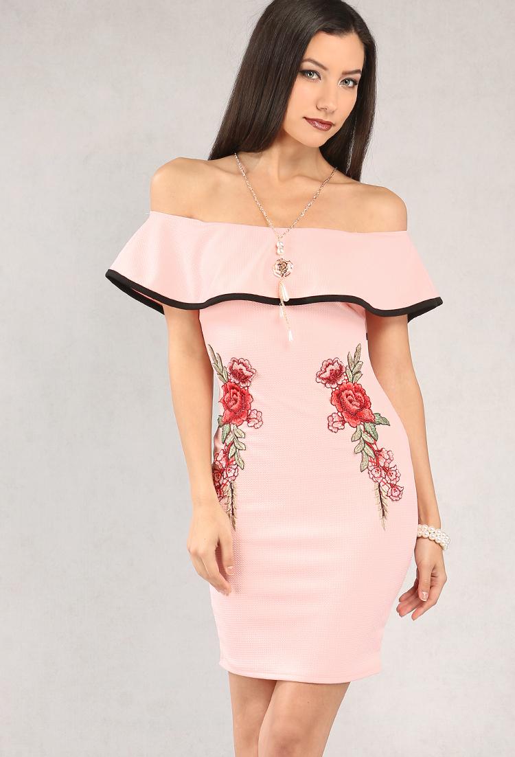 a48f1176d9 Rose Applique Off-The-Shoulder Dress W  Necklace