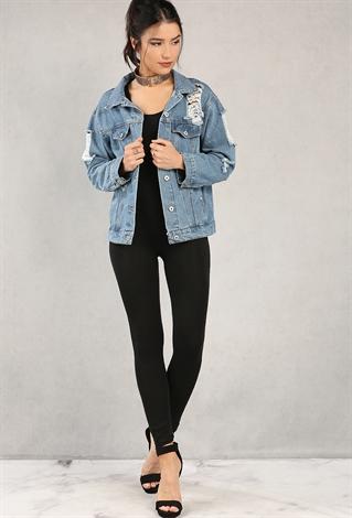 Distressed Denim Jacket | Shop Outerwear at Papaya Clothing