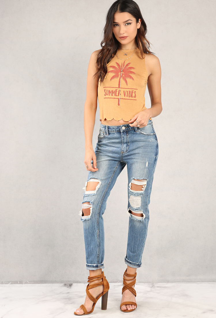 distressed high waist boyfriend jeans shop bottoms at. Black Bedroom Furniture Sets. Home Design Ideas