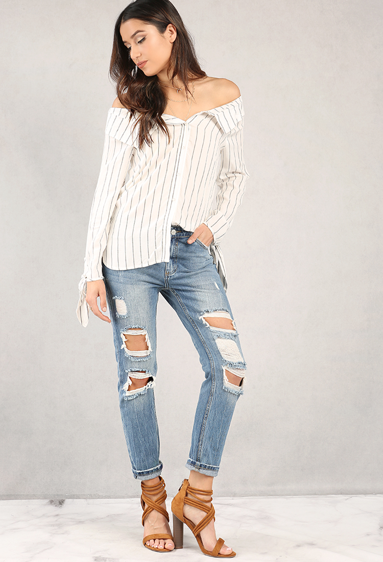 ... Striped Off-The-Shoulder Button-Up Top ...