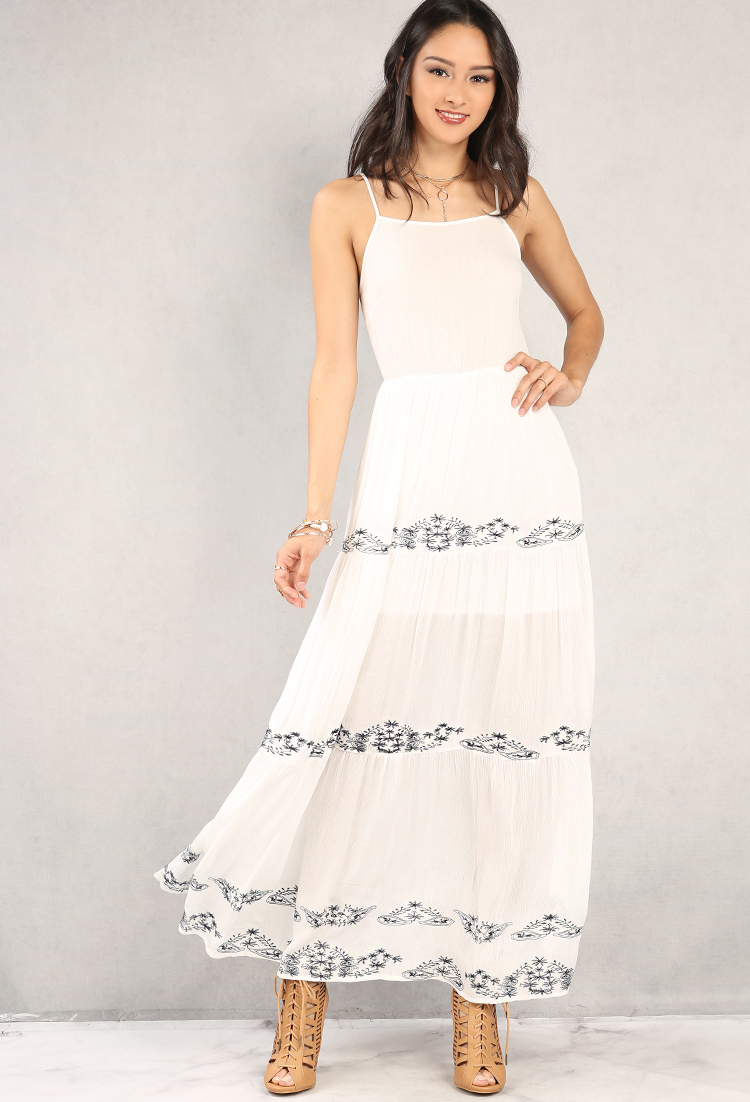 Crinkled floral embroidered lace up maxi dress shop boho