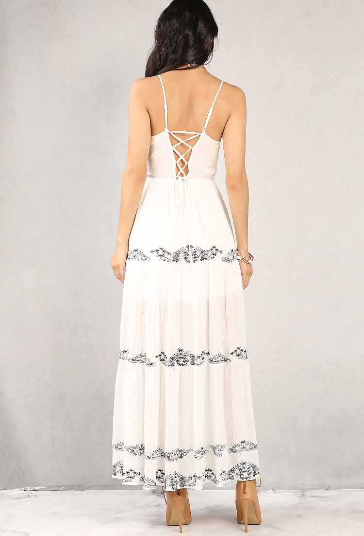 Crinkled floral embroidered lace up maxi dress shop at