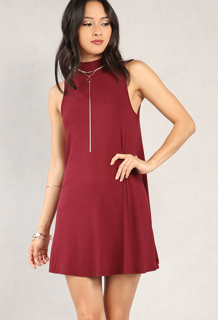 4d664f825854 Ribbed Mock Neck Swing Dress | Shop Old Dresses at Papaya Clothing