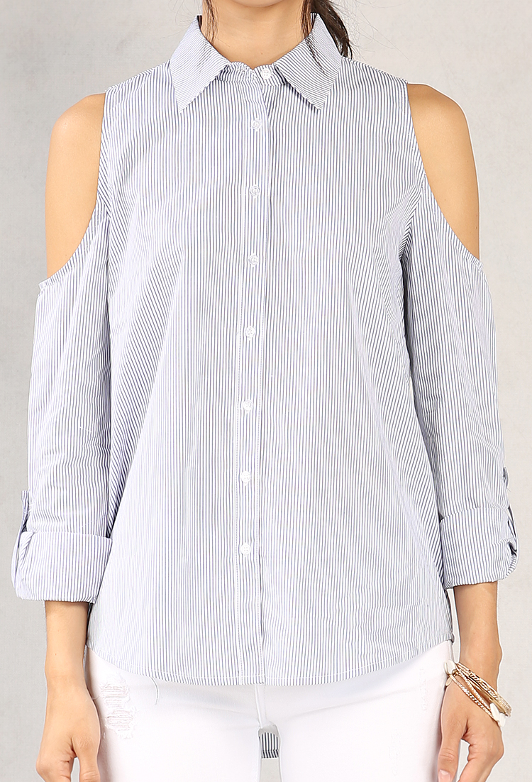 42d2ce95152 Pinstripe Open-Shoulder Button-Up Blouse