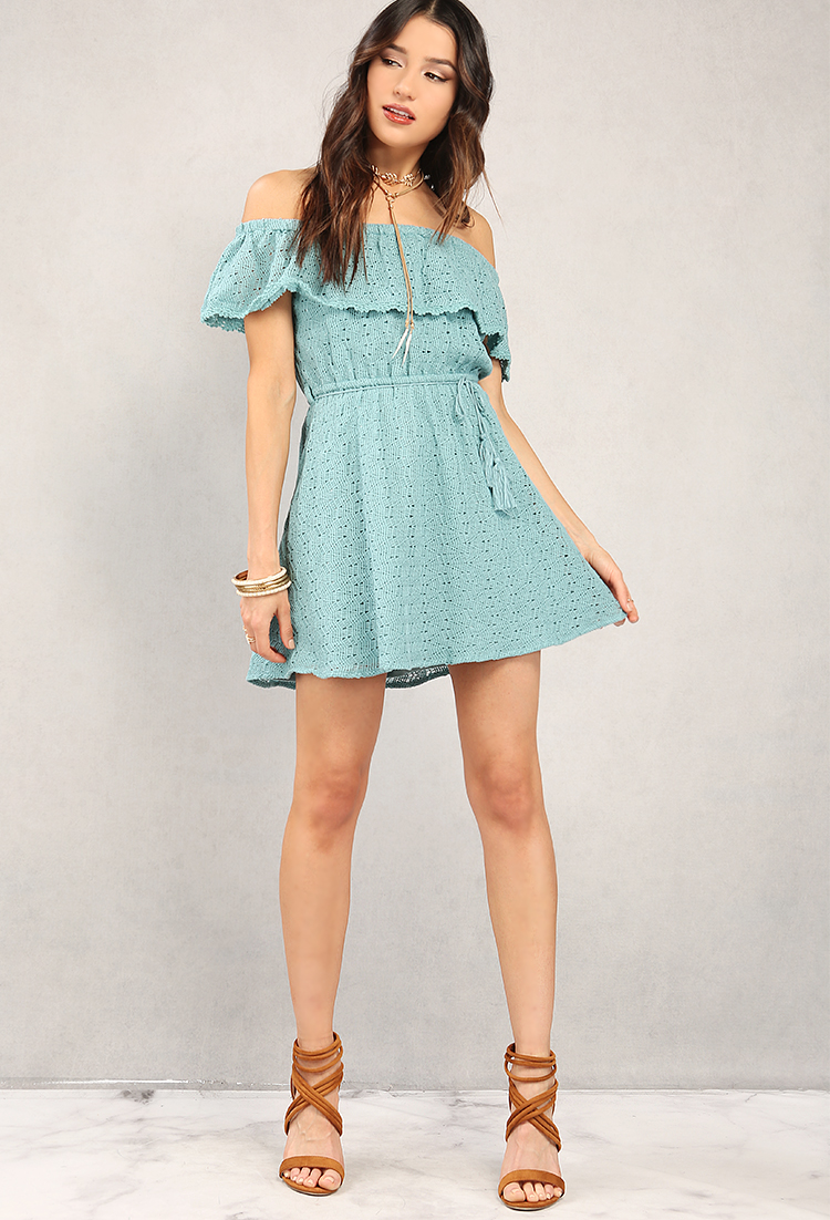 79c19ad8866 Crocheted Knit Off-The-Shoulder Flounce Dress