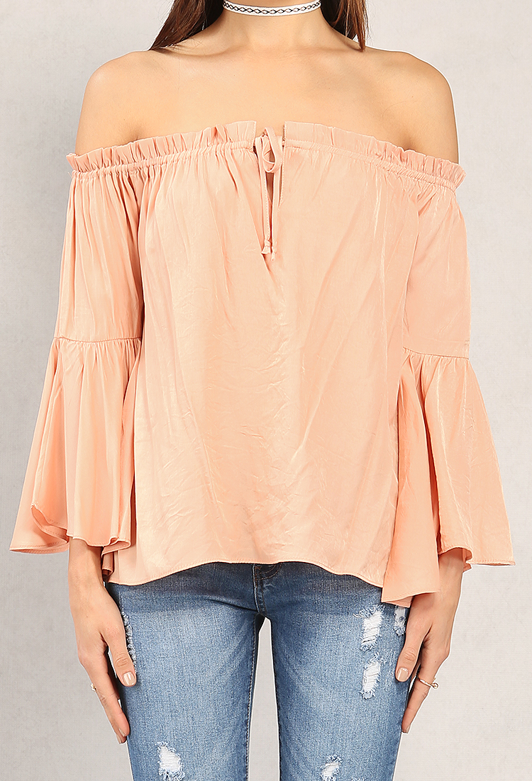 Smocked Bell-Sleeve Off-The-Shoulder Top   Shop Dressed To Frill ...