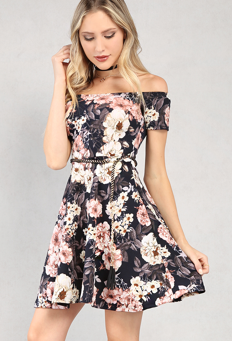 ... Navy Off-The-Shoulder Floral Fit And Flare Dress ... b10341d29