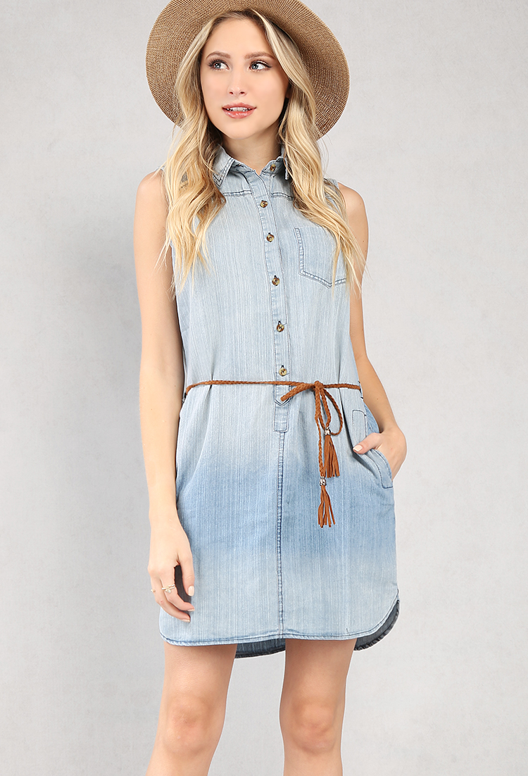 Sleeveless Belted Chambray Shirt Dress Shop Old Day Dresses At