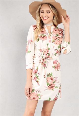belted floral print tunic shop dresses at papaya clothing
