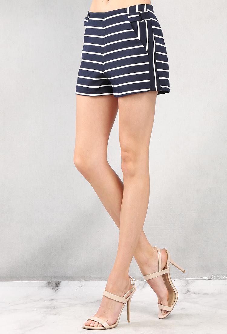 Navy/White Striped Shorts   Shop Weekend Wear at Papaya Clothing