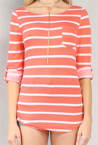 This is your perfect easy, classic striped T-shirt. Don't worry—we made it in plenty of colors in case you want to wear one every day. Cotton. Machine wash. Import. Item E