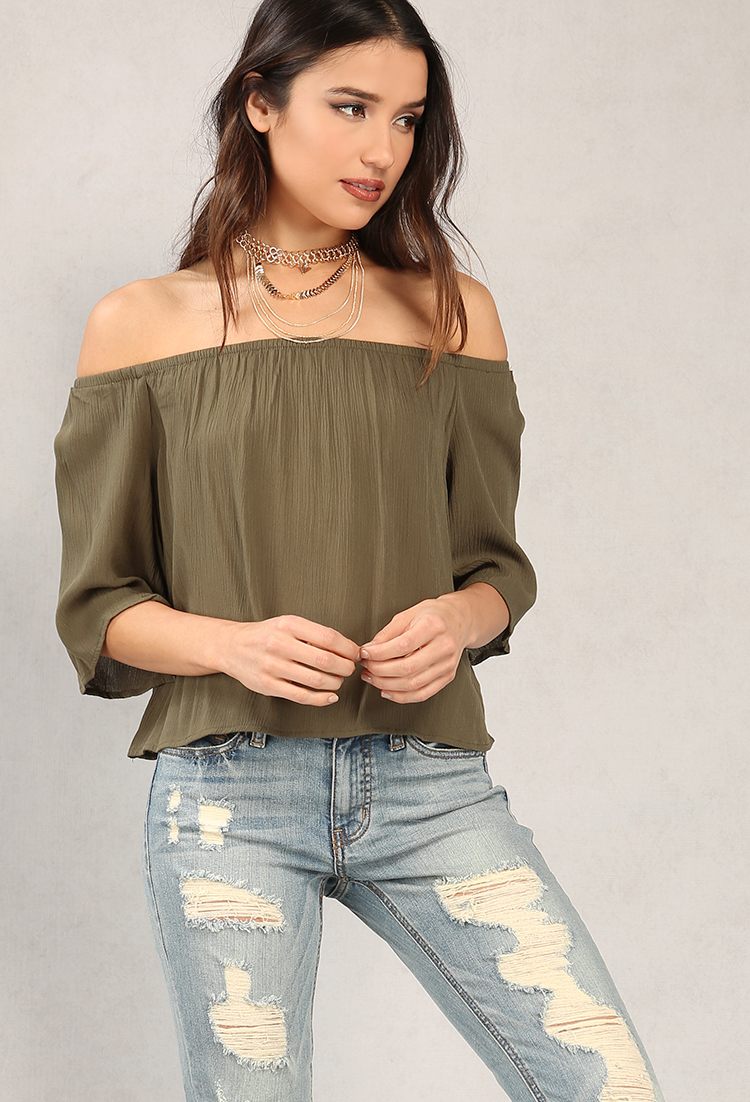 Off-The-Shoulder Woven Top