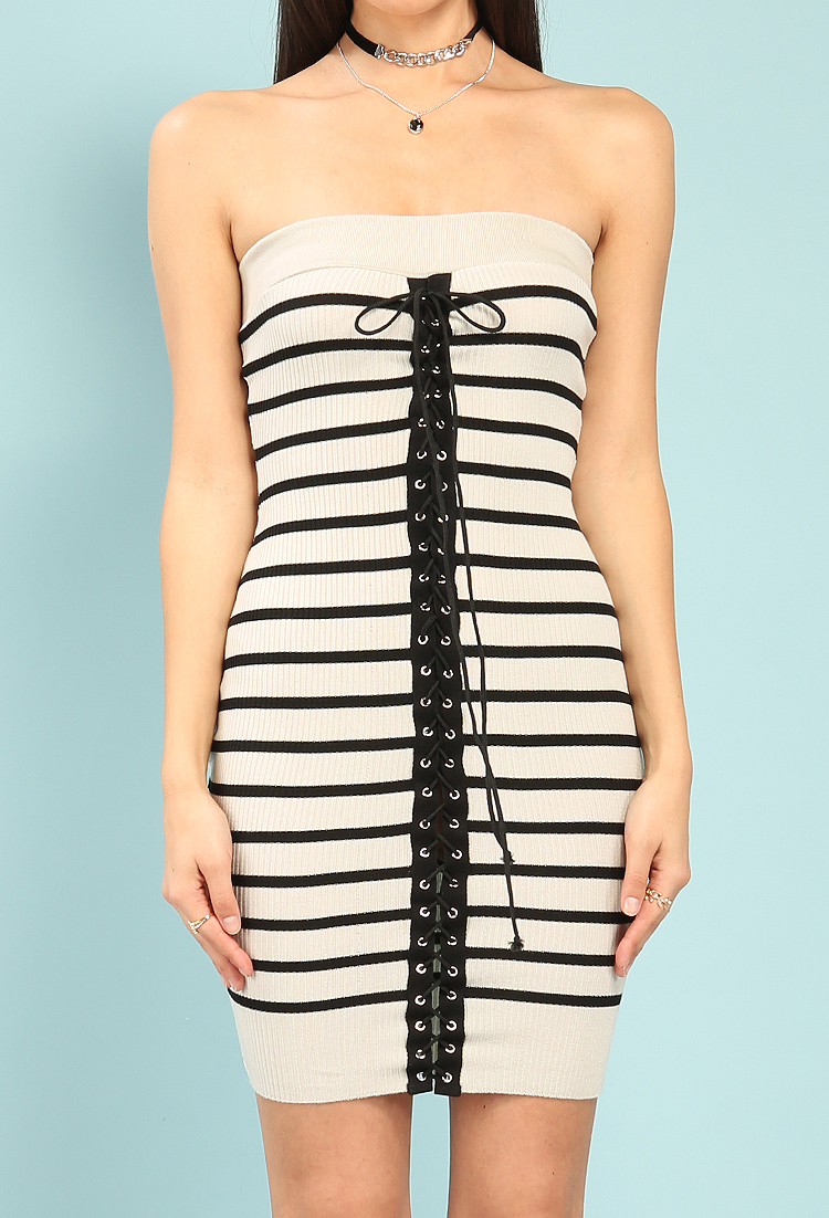 Striped Lace-Up Knit Bodycon Dress