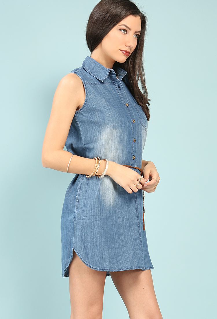 Sleeveless belted chambray shirt dress shop new and now for Belted chambray shirt dress