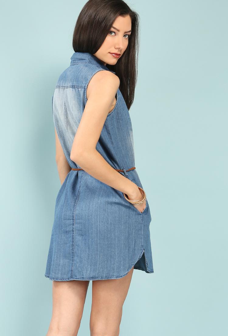 sleeveless belted chambray shirt dress shop denim daze
