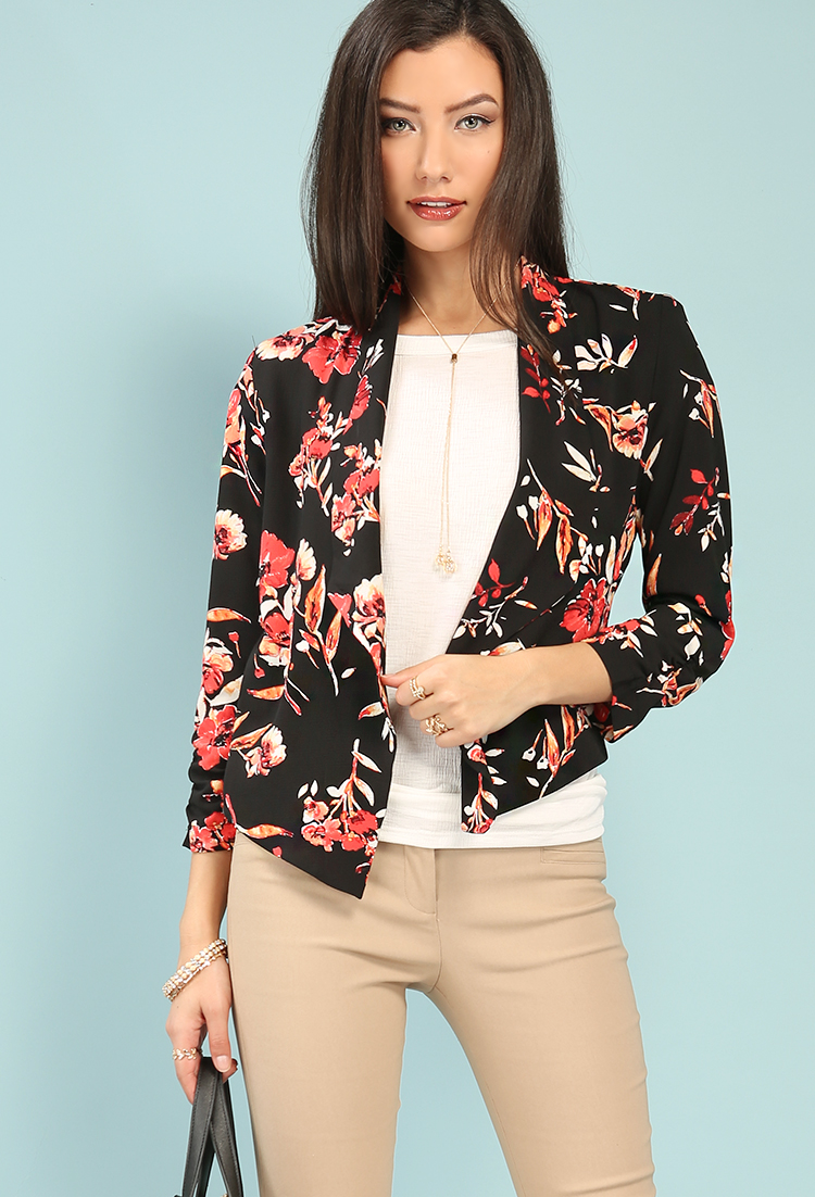 Draped Floral Open-Front Blazer