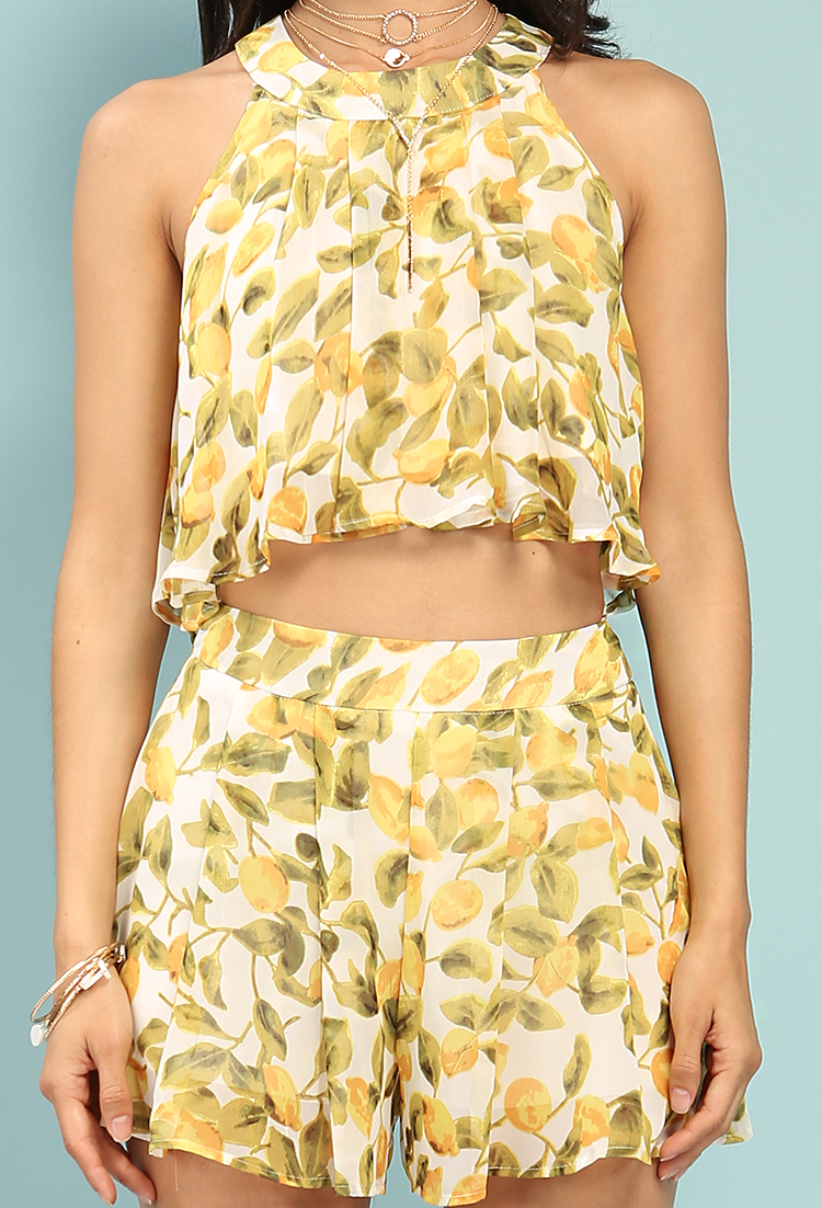 037bd8368dc853 Layered Lemon Print Chiffon Pleated Crop Top