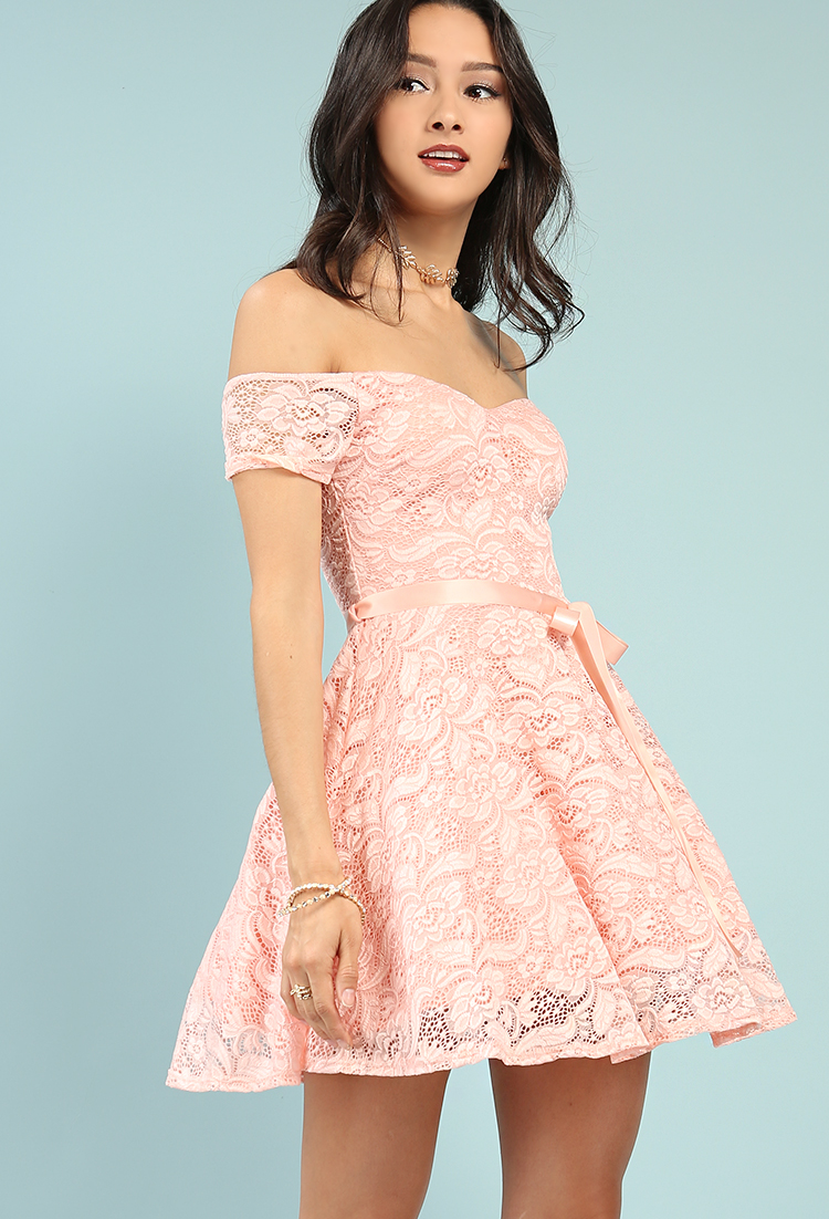 fdece0b57398 ... Off-The-Shoulder Lace Overlay Fit And Flare Dress ...