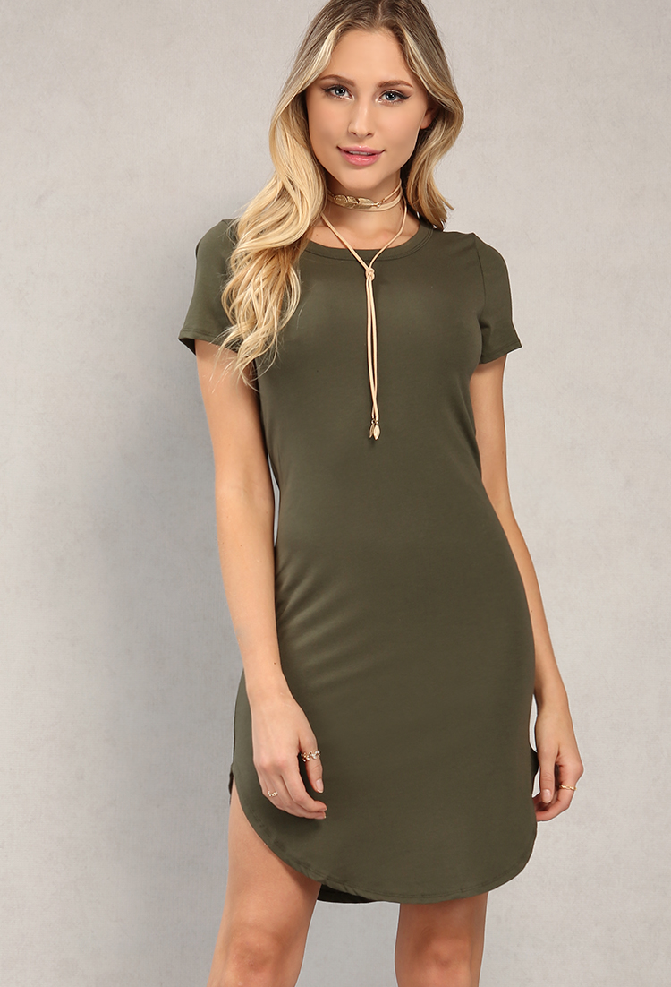 T-Shirt Dresses. Go for the ultimate off-duty look in our effortless range of t-shirt dresses, perfect for every occasion. A versatile go-to wardrobe staple that earns easy style points whatever the occasion. Opt for a basic tee shirt dress in this seasons favourite colour hues and style down with some fresh box kicks layered up with on-trend denims.