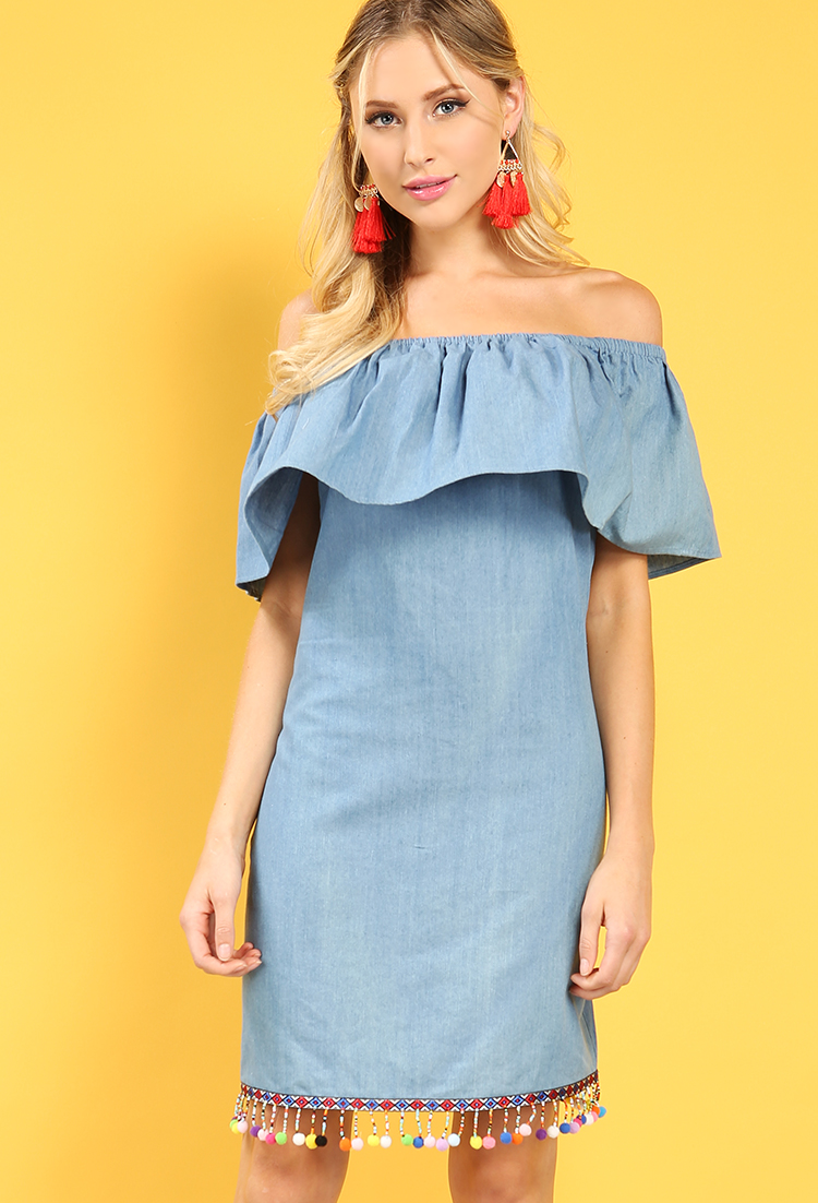 Chambray Pom Pom Off-The-Shoulder Flounce Dress