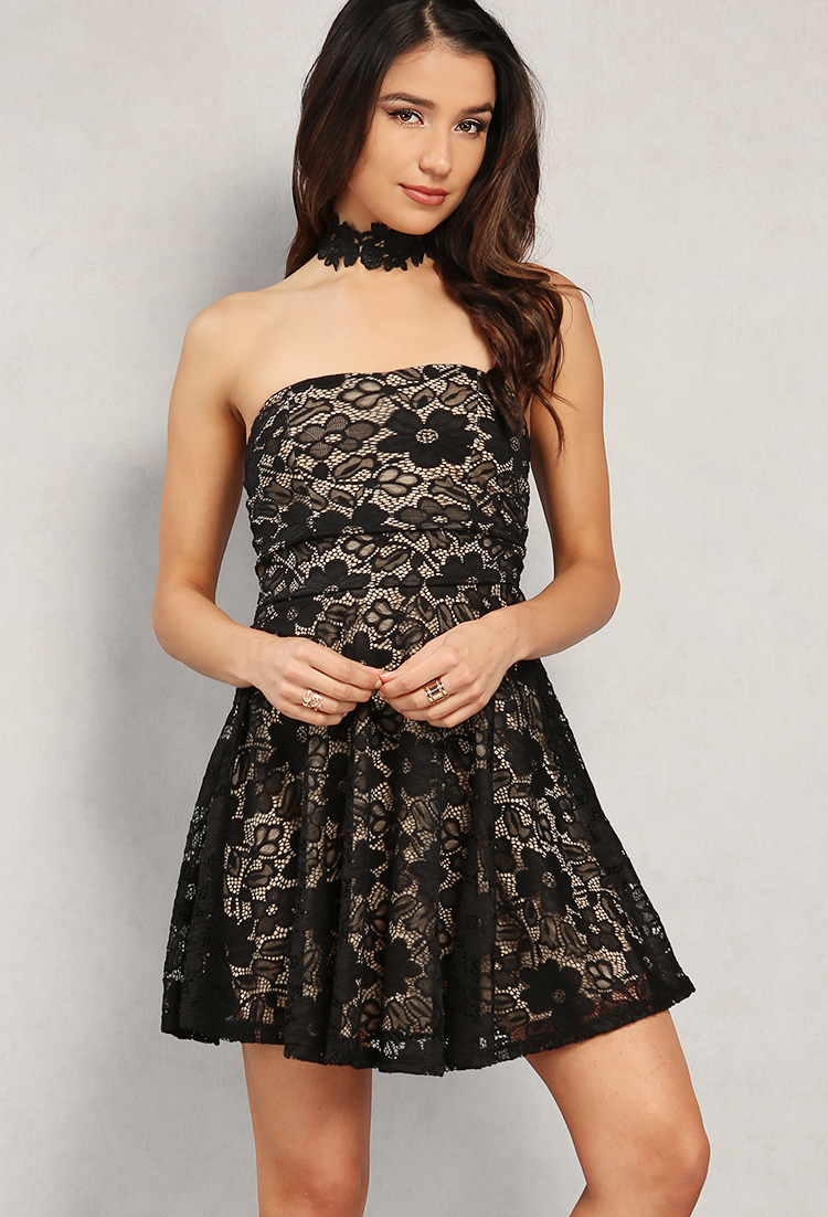 Lace Overlay Fit And Flare Dress W Choker Shop Old