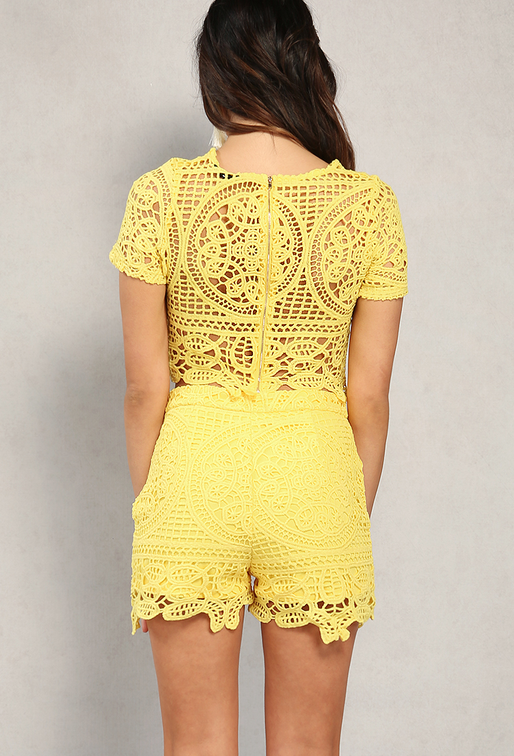 Crocheted Crop Top And Shorts Set