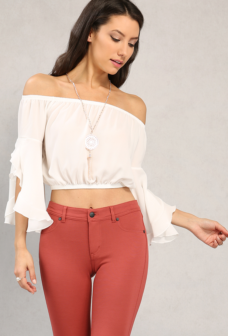 Ruffled Bell-Sleeve Off-The-Shoulder Top W/ Necklace   Shop New ...