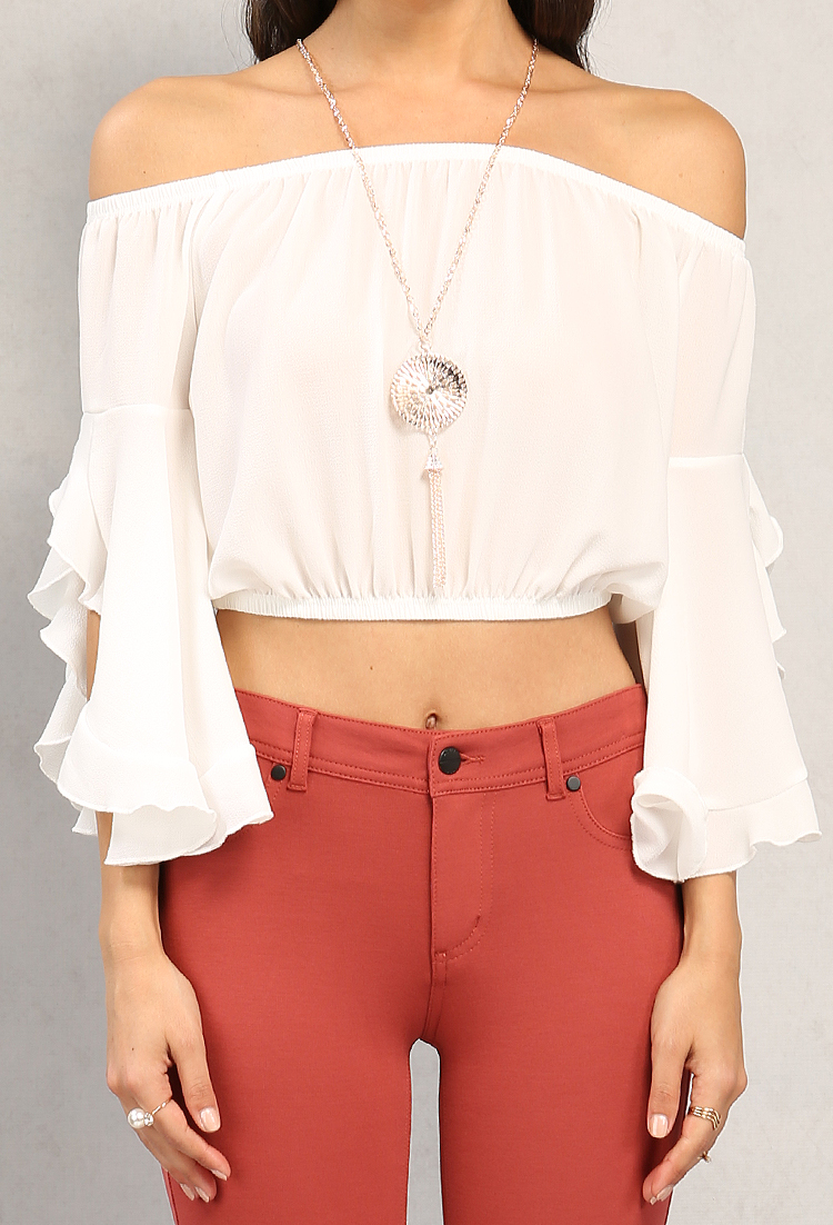 Ruffled bell sleeve off the shoulder top w necklace for Bell bottom sleeve shirt