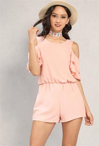Polka Dot Open-Shoulder Romper | Shop Romper at Papaya Clothing