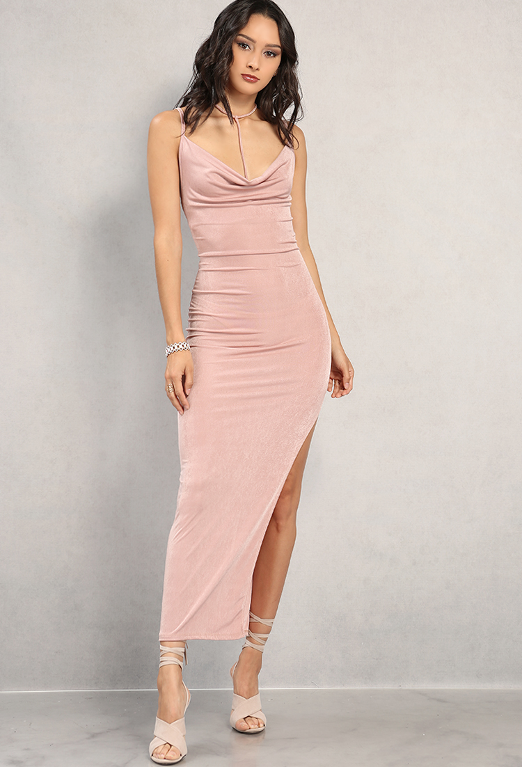 a75ebe708ad ... Strappy Side-Slit Cowl Neck Maxi Dress ...