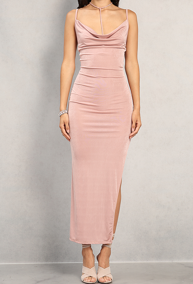 2c969f4e64 Strappy Side-Slit Cowl Neck Maxi Dress   Shop Old Floral Dresses at Papaya  Clothing