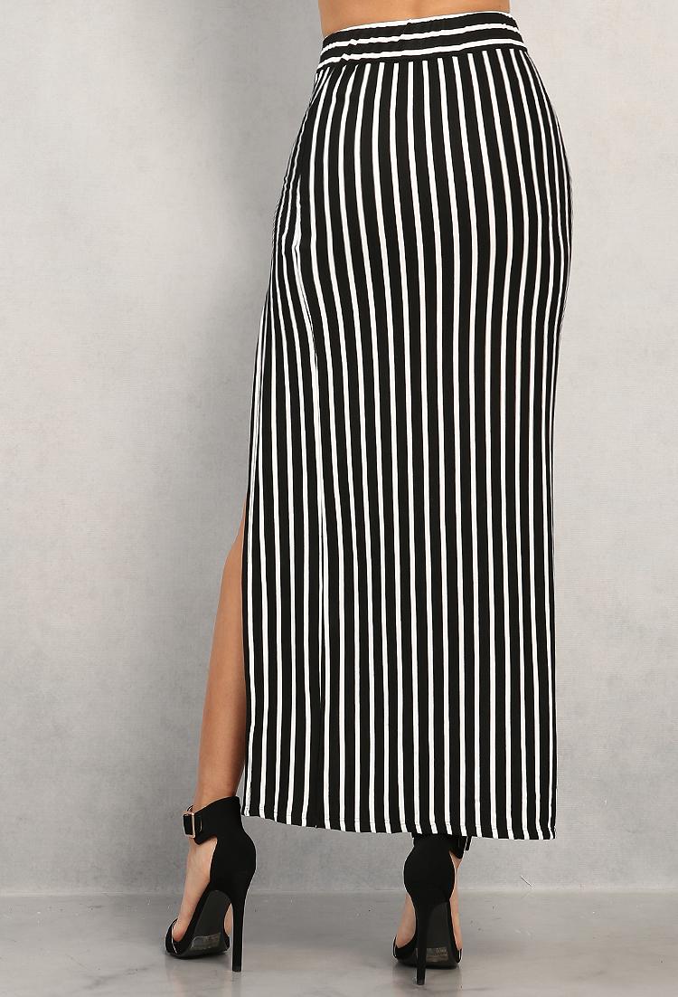 fbc289f837e Striped Crop Top And Maxi Skirt Set