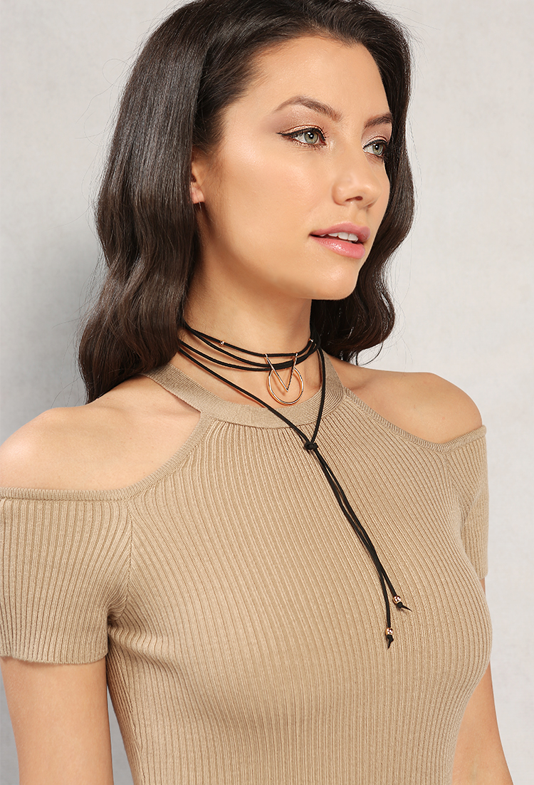 4bdd2904816cf Faux Suede Wrap Around Choker Stud Earring Set | Shop What's New at ...