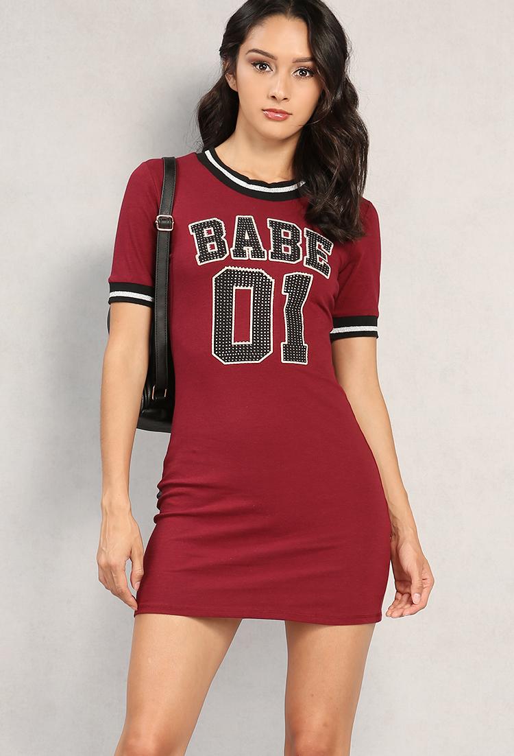 d09e23383 Rhinestone Babe 01 Graphic T-Shirt Dress   Shop Old Tee & Knit Tops at  Papaya Clothing