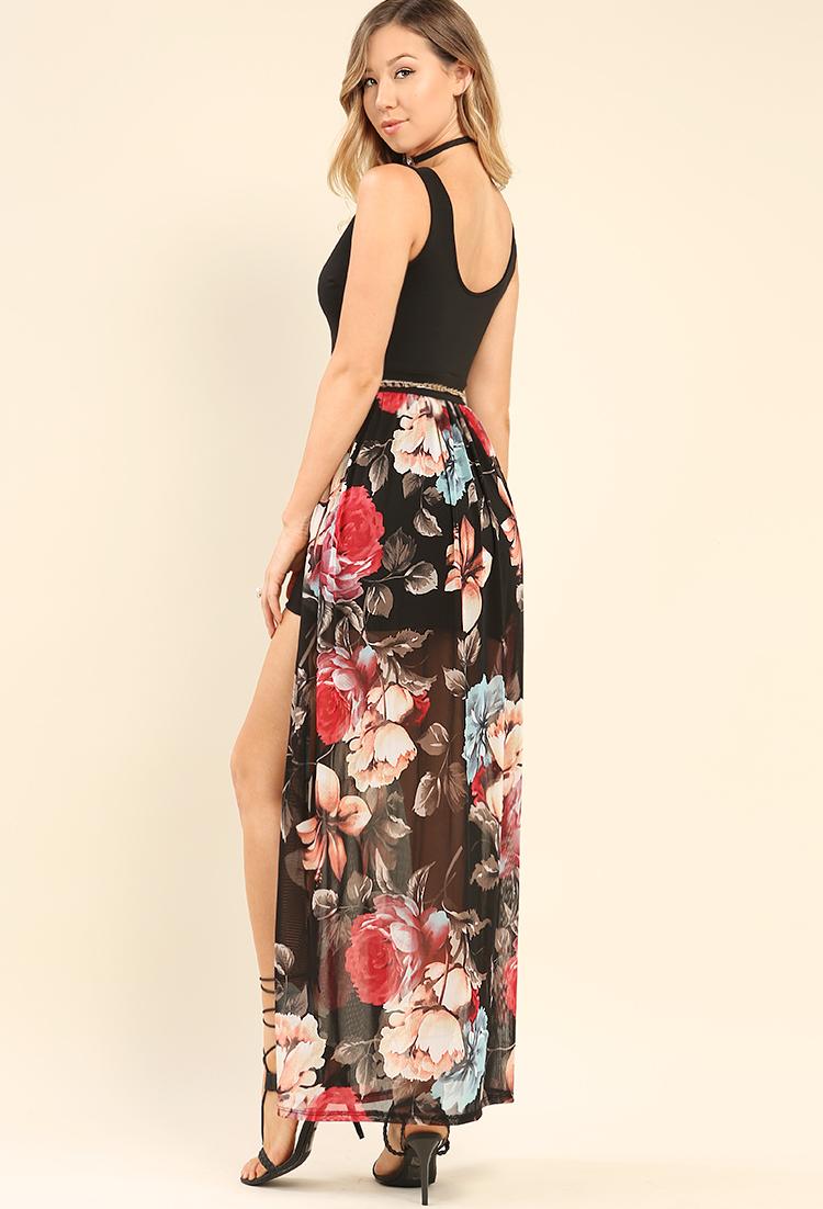803e96b6cc6 ... Floral Mesh Maxi Dress W  Belt ...