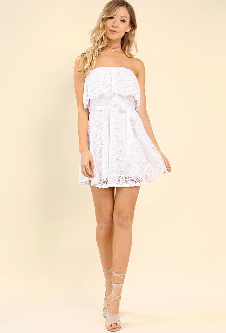 Flounce Lace Overlay Tube Top Dress