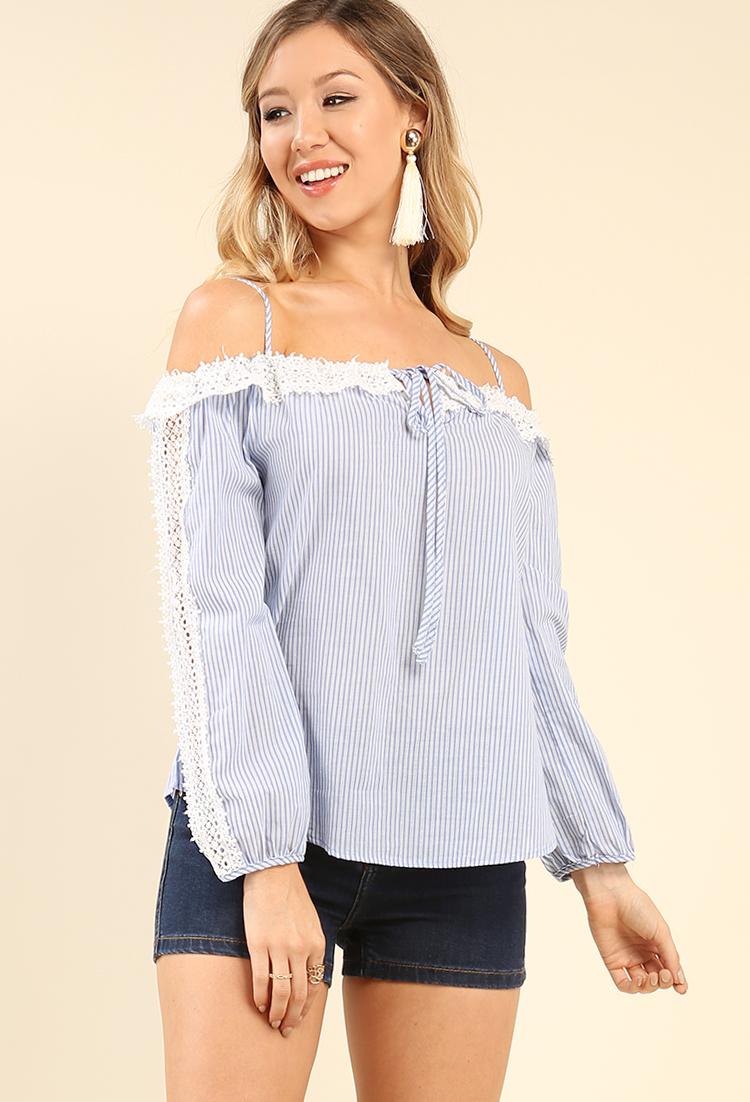 e99d44e14bd Crochet-Trimmed Pinstripe Open-Shoulder Top