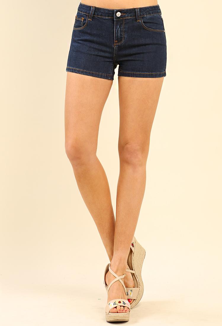 Classic Mid-Rise Denim Shorts | Shop Clothing at Papaya Clothing