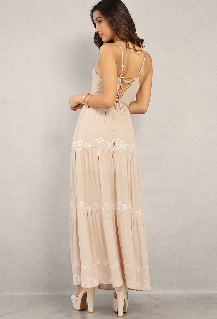 Crinkled floral embroidered lace up maxi dress shop