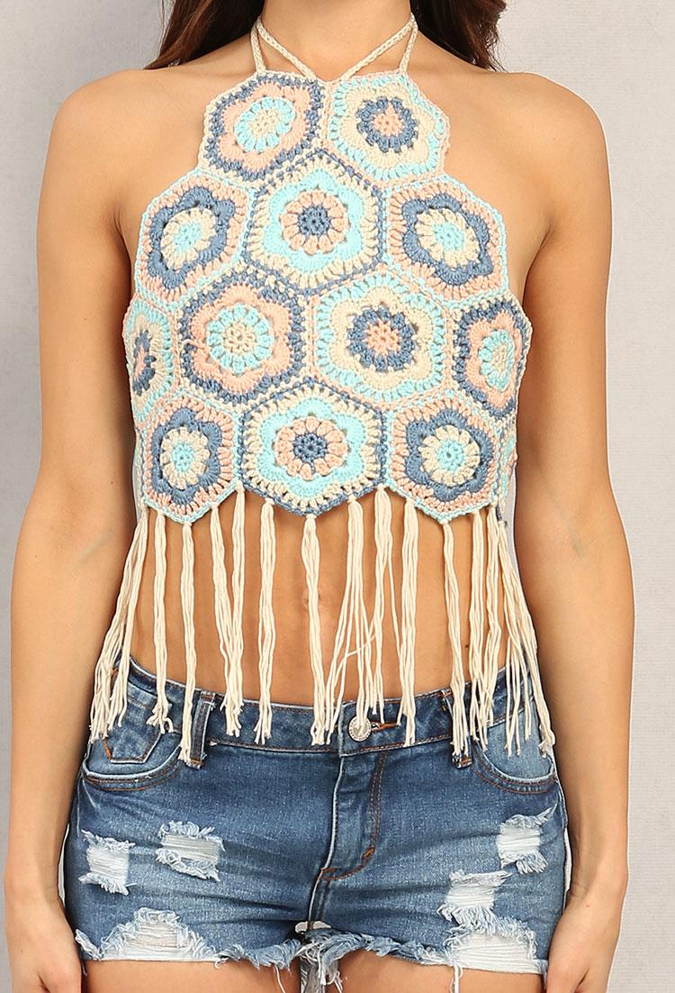 Fringed Crochet Halter Crop Top Shop Off The Shoulder At Papaya
