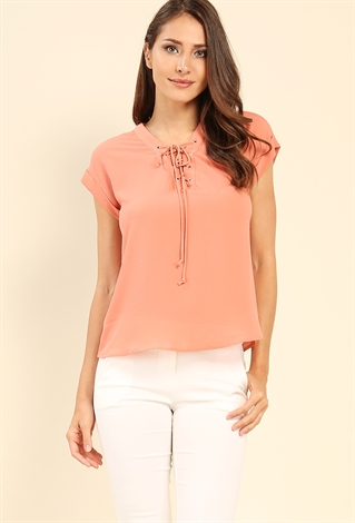 Cuffed-Sleeve Lace-Up Blouse