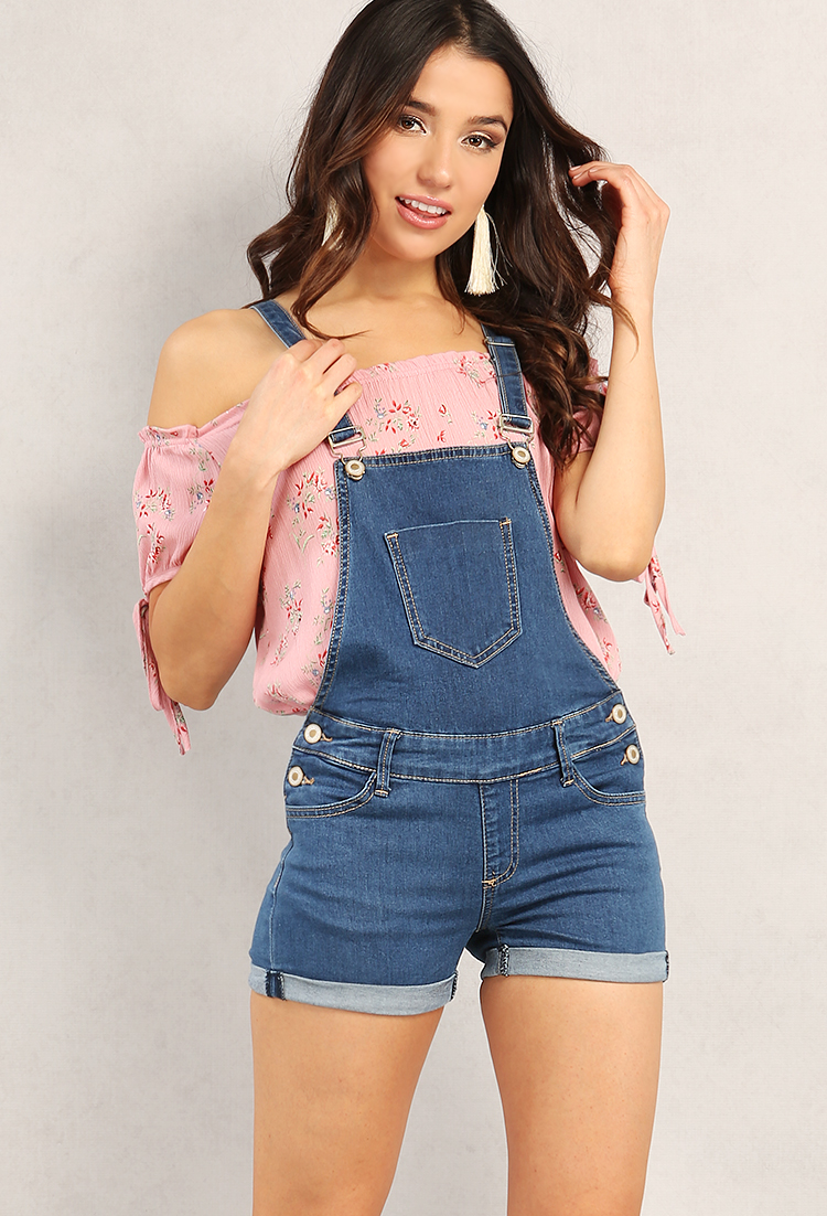 Cuffed Denim Overall Shorts | Shop Dressy at Papaya Clothing