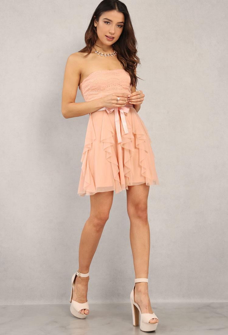5a3a78fc98c Ruffled Mesh Tube Skater Dress