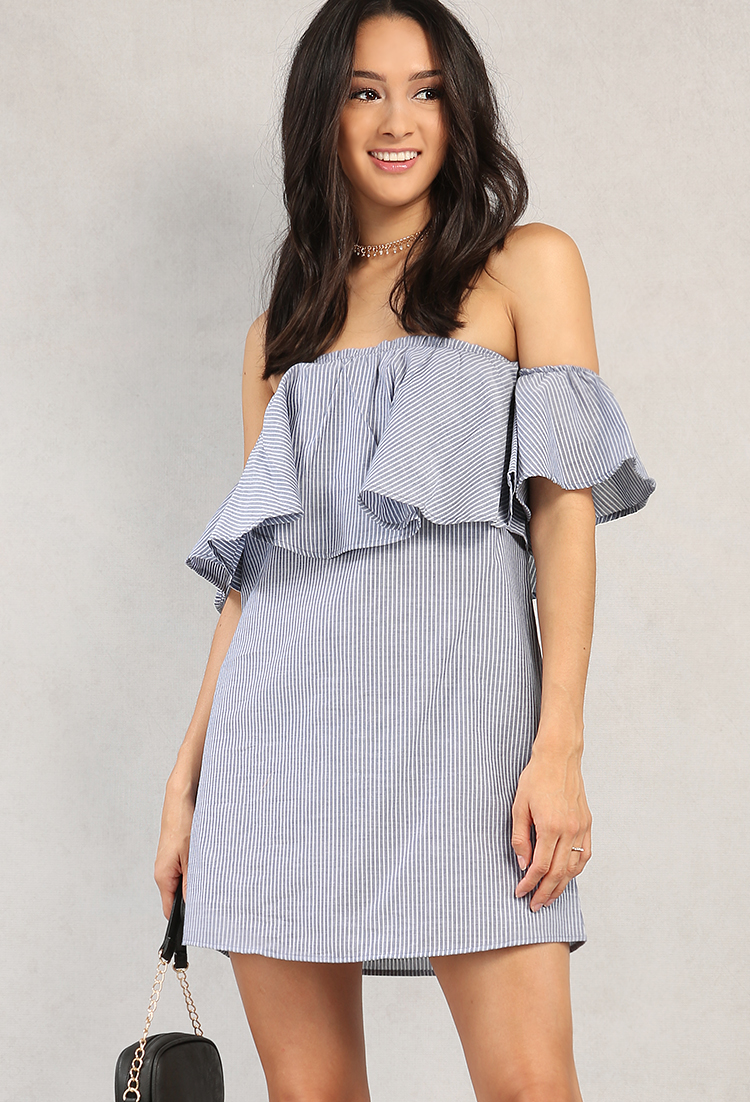 c6b6cf933dfa Pinstriped Off-The-Shoulder Flounce Dress