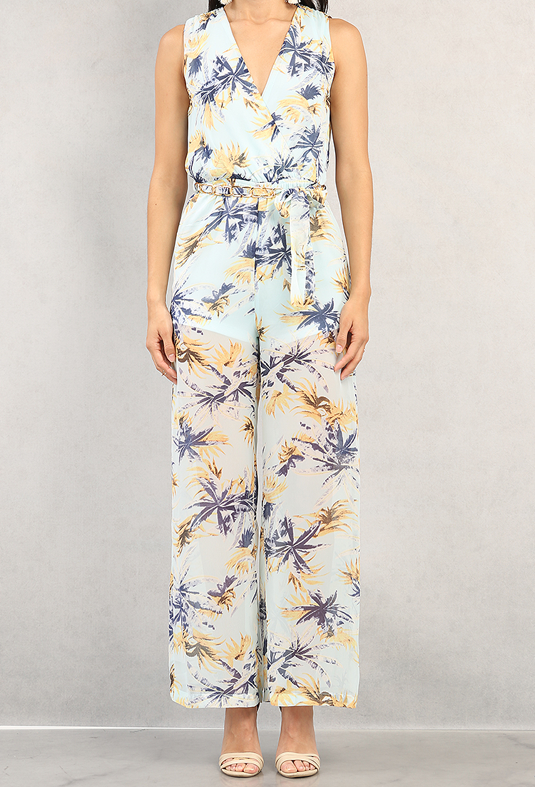 great deals latest design cheapest price Belted Palm Tree Chiffon Surplice Jumpsuit | Shop Old ...