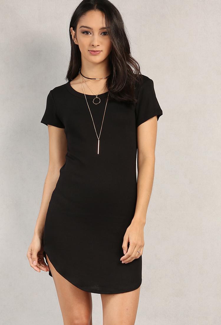 Knit Curved Hem T Shirt Dress Shop Boho Babes At Papaya Clothing